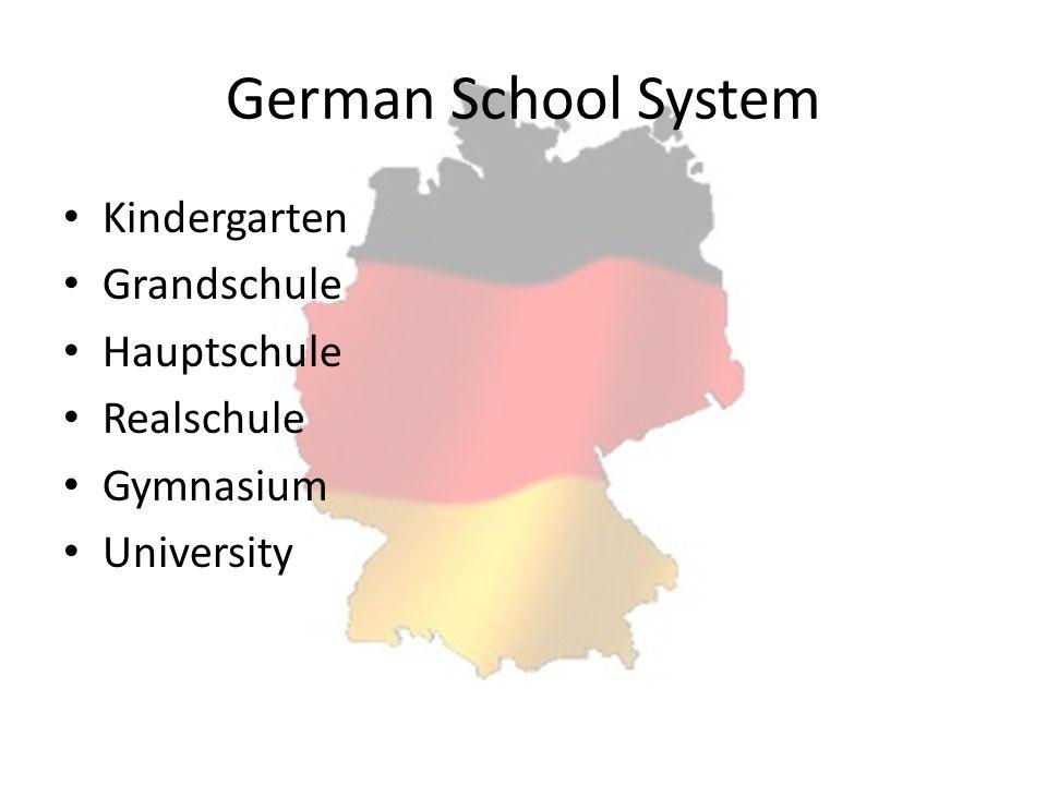 German School System Kindergarten Grandschule Hauptschule Realschule Gymnasium University