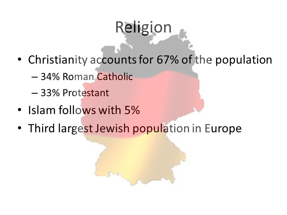 Religion Christianity accounts for 67% of the population – 34% Roman Catholic – 33% Protestant Islam follows with 5% Third largest Jewish population i