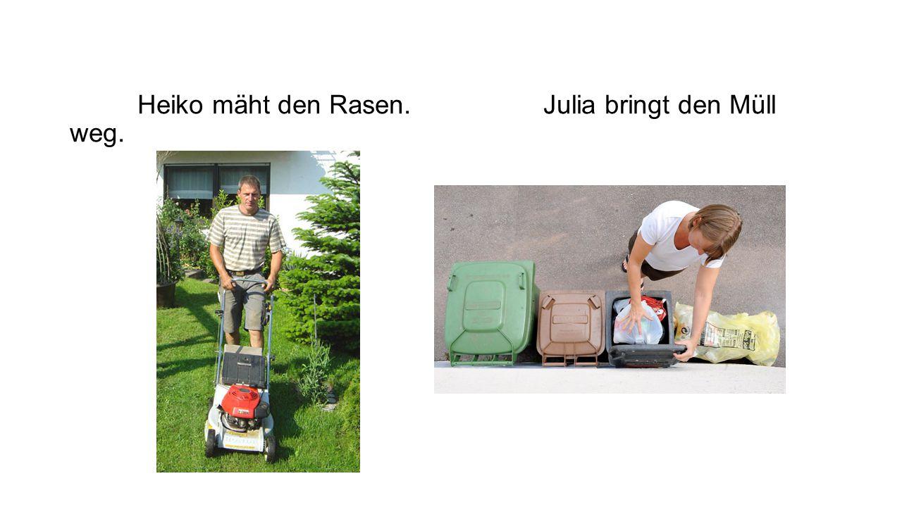 Herr Lutz sprengt den Rasen.Frau Lutz giesst die Blumen
