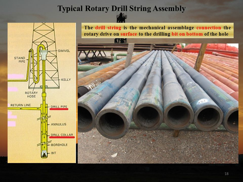 18 Typical Rotary Drill String Assembly The drill string is the mechanical assemblage connection the rotary drive on surface to the drilling bit on bottom of the hole Functions of the Drillstring: flow line for circulating drilling fluid provides weight on bit transmits rotation and torque to bit guides and controls trajectory of the bit Main Components: Drill Collars: thick wall steel pipe with Pin/Box threaded connection Drill Pipe: steel pipe with Pin/Box threaded toolioints Ancillary Components: crossover subs stabilizers reamers