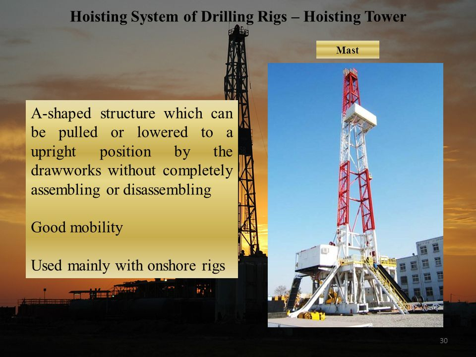30 Hoisting System of Drilling Rigs – Hoisting Tower Mast A-shaped structure which can be pulled or lowered to a upright position by the drawworks without completely assembling or disassembling Good mobility Used mainly with onshore rigs