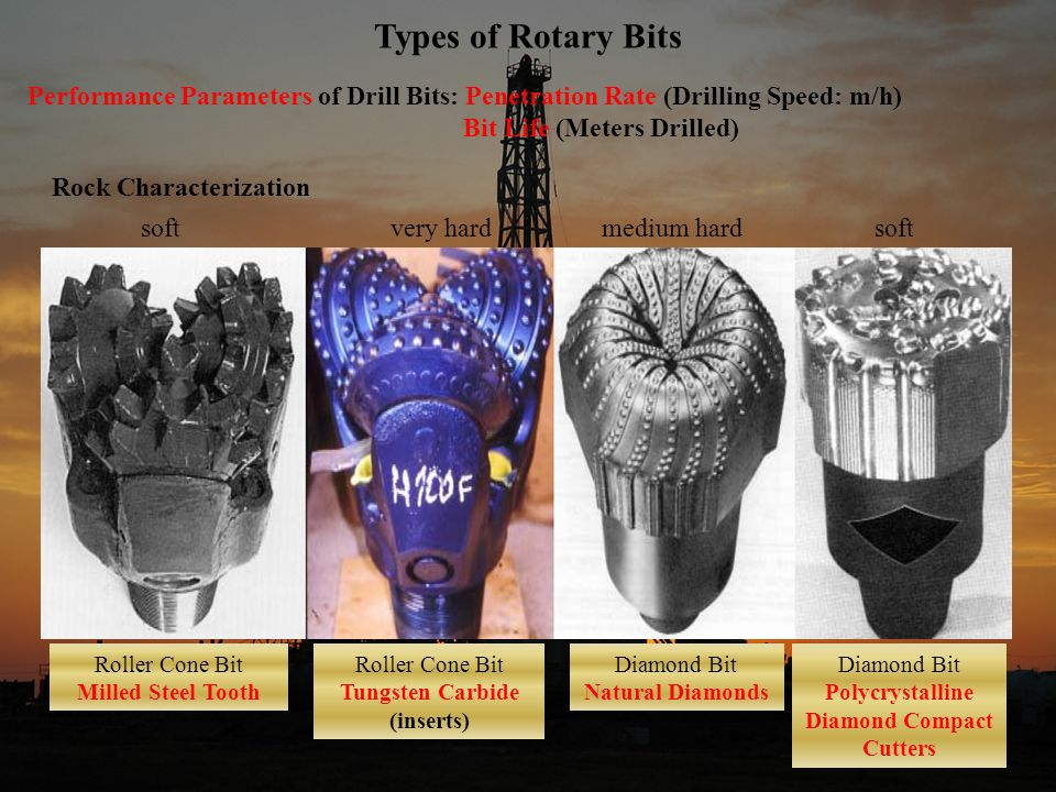 8 Types of Rotary Bits Performance Parameters of Drill Bits: Penetration Rate (Drilling Speed: m/h) Bit Life (Meters Drilled) Rock Characterization softvery hardmedium hardsoft Roller Cone Bit Milled Steel Tooth Roller Cone Bit Tungsten Carbide (inserts) Diamond Bit Natural Diamonds Diamond Bit Polycrystalline Diamond Compact Cutters