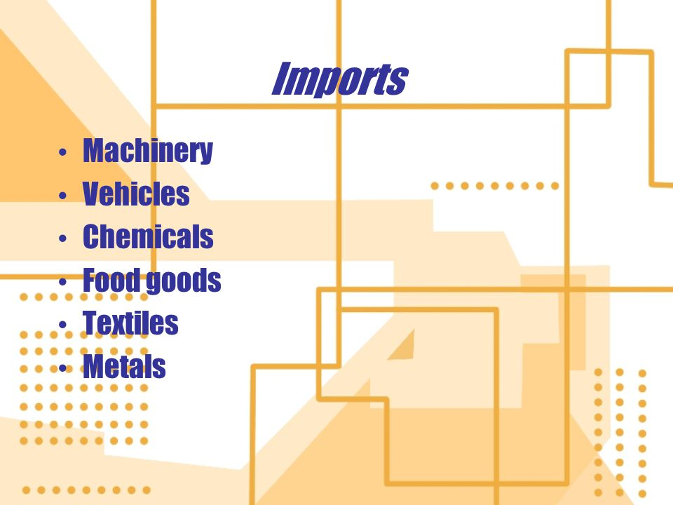 Imports Machinery Vehicles Chemicals Food goods Textiles Metals Machinery Vehicles Chemicals Food goods Textiles Metals