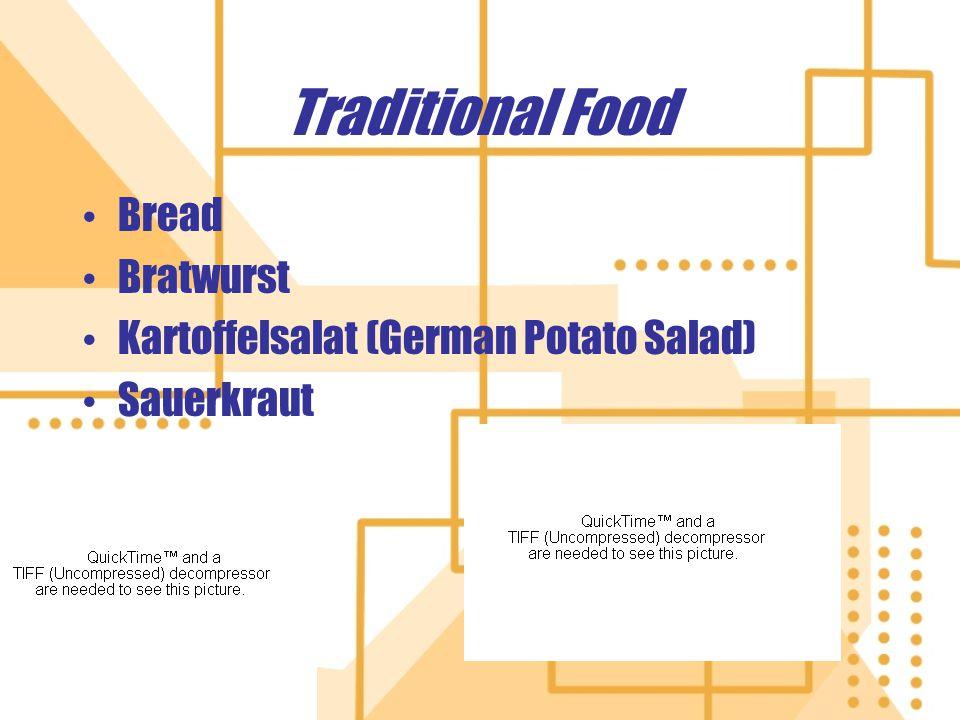 Traditional Food Bread Bratwurst Kartoffelsalat (German Potato Salad) Sauerkraut Bread Bratwurst Kartoffelsalat (German Potato Salad) Sauerkraut