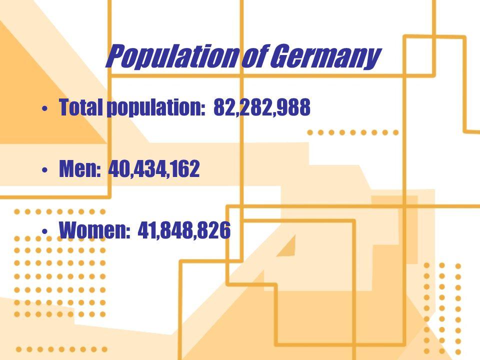 Population of Germany Total population: 82,282,988 Men: 40,434,162 Women: 41,848,826 Total population: 82,282,988 Men: 40,434,162 Women: 41,848,826