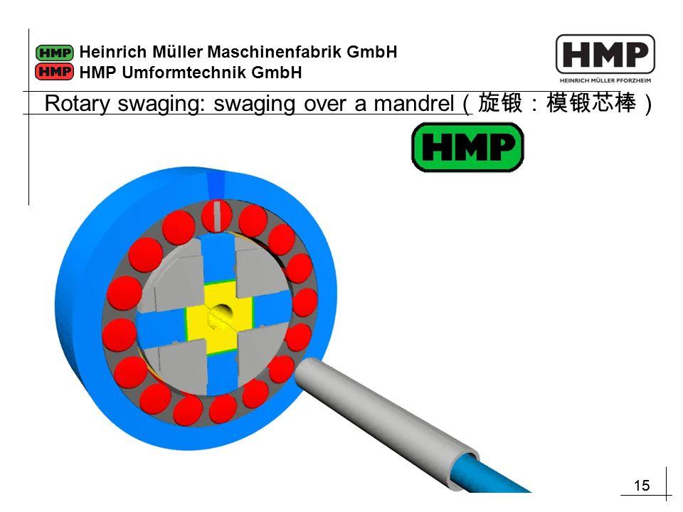15 Heinrich Müller Maschinenfabrik GmbH HMP Umformtechnik GmbH Rotary swaging: swaging over a mandrel (旋锻:模锻芯棒)
