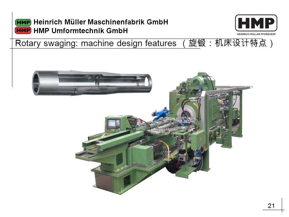 21 Heinrich Müller Maschinenfabrik GmbH HMP Umformtechnik GmbH Rotary swaging: machine design features (旋锻:机床设计特点)