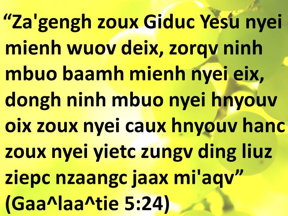 Za gengh zoux Giduc Yesu nyei mienh wuov deix, zorqv ninh mbuo baamh mienh nyei eix, dongh ninh mbuo nyei hnyouv oix zoux nyei caux hnyouv hanc zoux nyei yietc zungv ding liuz ziepc nzaangc jaax mi aqv (Gaa^laa^tie 5:24)