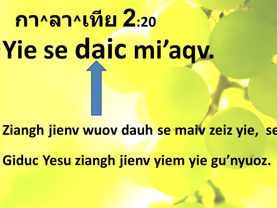 กา ^ ลา ^ เทีย 2 :20 Yie se daic mi'aqv.