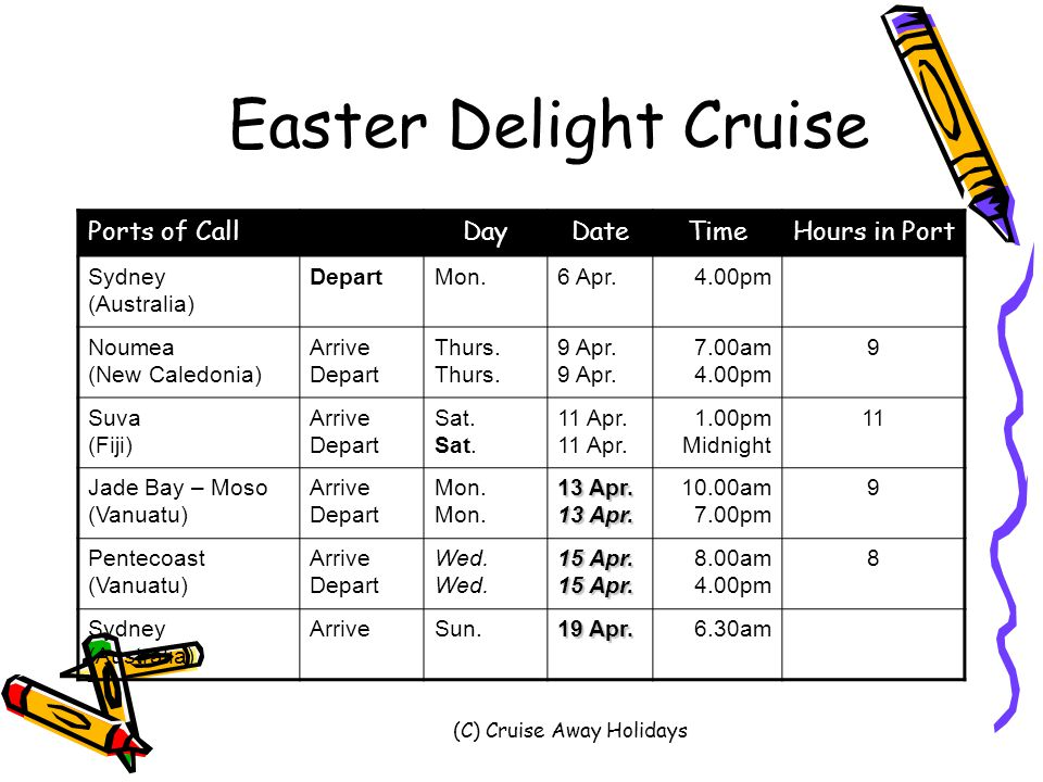 (C) Cruise Away Holidays Easter Delight Cruise Ports of CallDayDateTimeHours in Port Sydney (Australia) DepartMon.6 Apr.4.00pm Noumea (New Caledonia) Arrive DepartThurs.9 Apr.