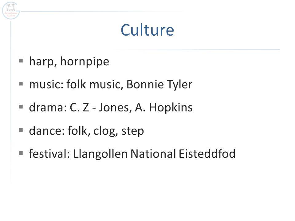 Culture  harp, hornpipe  music: folk music, Bonnie Tyler  drama: C.