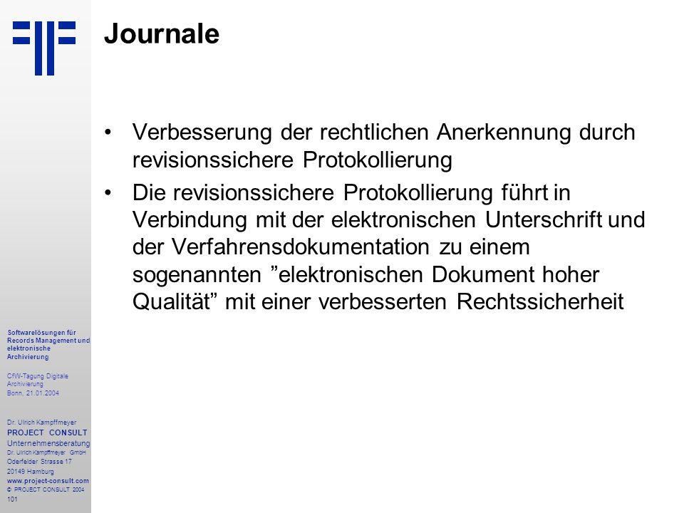 101 Softwarelösungen für Records Management und elektronische Archivierung CfW-Tagung Digitale Archivierung Bonn, 21.01.2004 Dr. Ulrich Kampffmeyer PR