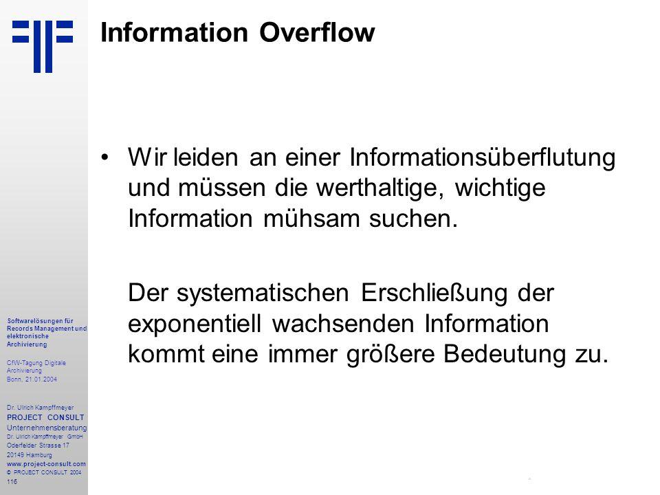 116 Softwarelösungen für Records Management und elektronische Archivierung CfW-Tagung Digitale Archivierung Bonn, 21.01.2004 Dr. Ulrich Kampffmeyer PR