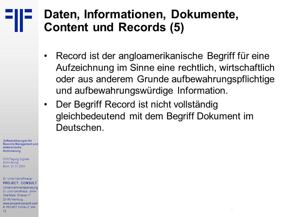 13 Softwarelösungen für Records Management und elektronische Archivierung CfW-Tagung Digitale Archivierung Bonn, 21.01.2004 Dr. Ulrich Kampffmeyer PRO