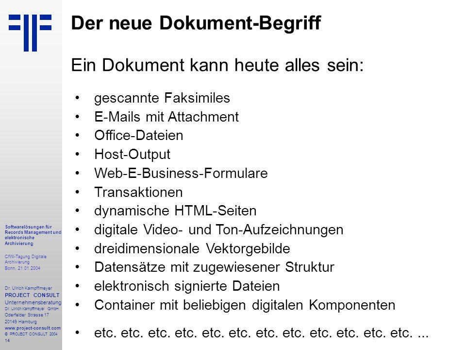 14 Softwarelösungen für Records Management und elektronische Archivierung CfW-Tagung Digitale Archivierung Bonn, 21.01.2004 Dr. Ulrich Kampffmeyer PRO