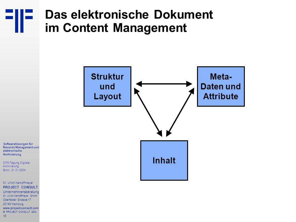 16 Softwarelösungen für Records Management und elektronische Archivierung CfW-Tagung Digitale Archivierung Bonn, 21.01.2004 Dr. Ulrich Kampffmeyer PRO