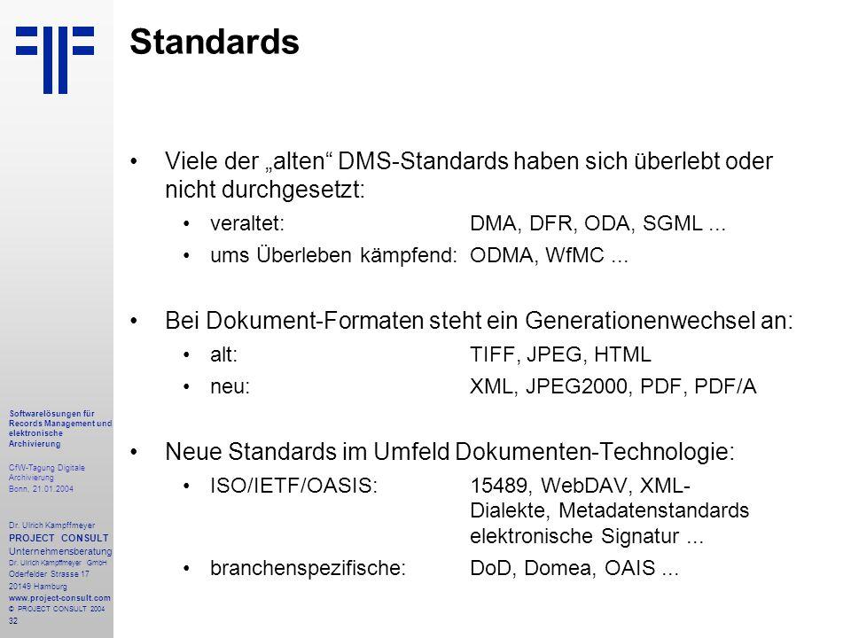 32 Softwarelösungen für Records Management und elektronische Archivierung CfW-Tagung Digitale Archivierung Bonn, 21.01.2004 Dr. Ulrich Kampffmeyer PRO