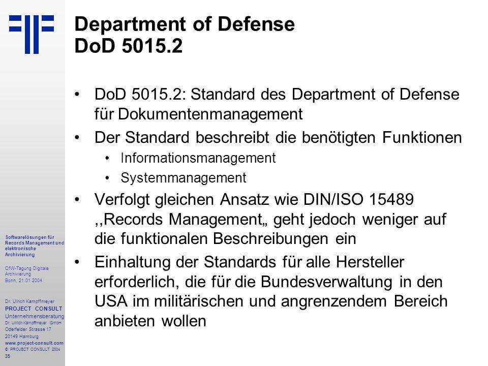 35 Softwarelösungen für Records Management und elektronische Archivierung CfW-Tagung Digitale Archivierung Bonn, 21.01.2004 Dr. Ulrich Kampffmeyer PRO