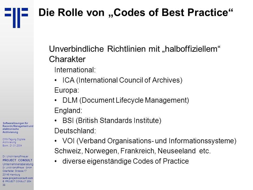 38 Softwarelösungen für Records Management und elektronische Archivierung CfW-Tagung Digitale Archivierung Bonn, 21.01.2004 Dr. Ulrich Kampffmeyer PRO