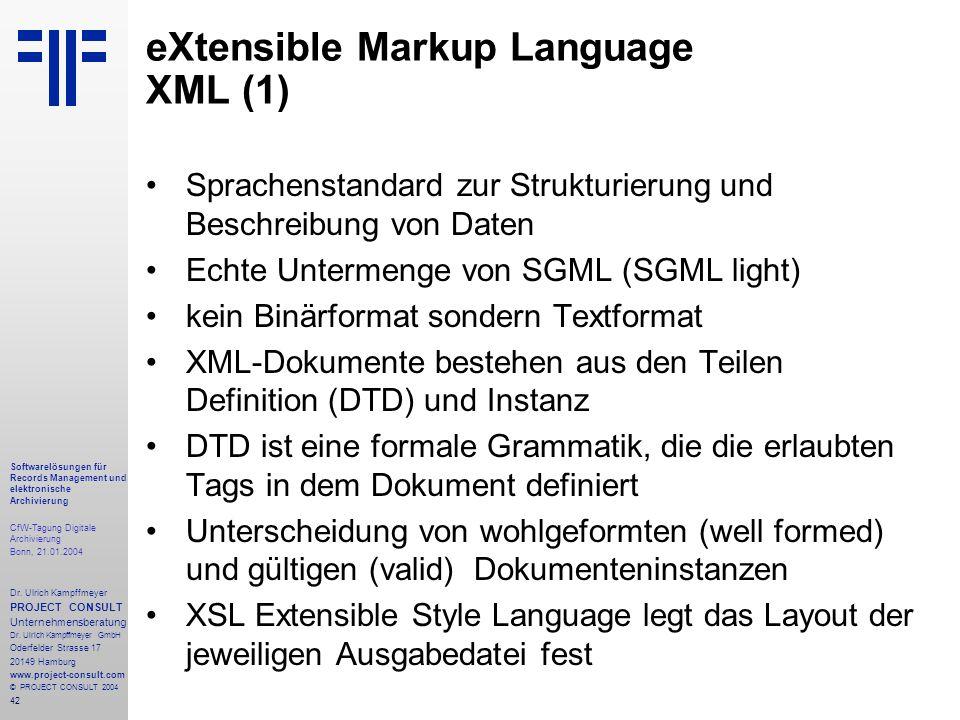 42 Softwarelösungen für Records Management und elektronische Archivierung CfW-Tagung Digitale Archivierung Bonn, 21.01.2004 Dr. Ulrich Kampffmeyer PRO