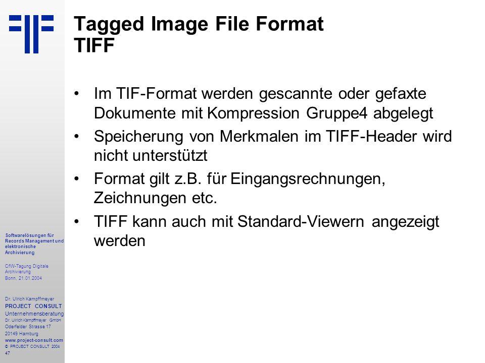 47 Softwarelösungen für Records Management und elektronische Archivierung CfW-Tagung Digitale Archivierung Bonn, 21.01.2004 Dr. Ulrich Kampffmeyer PRO