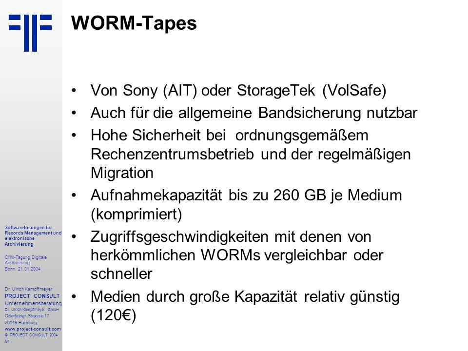 54 Softwarelösungen für Records Management und elektronische Archivierung CfW-Tagung Digitale Archivierung Bonn, 21.01.2004 Dr. Ulrich Kampffmeyer PRO