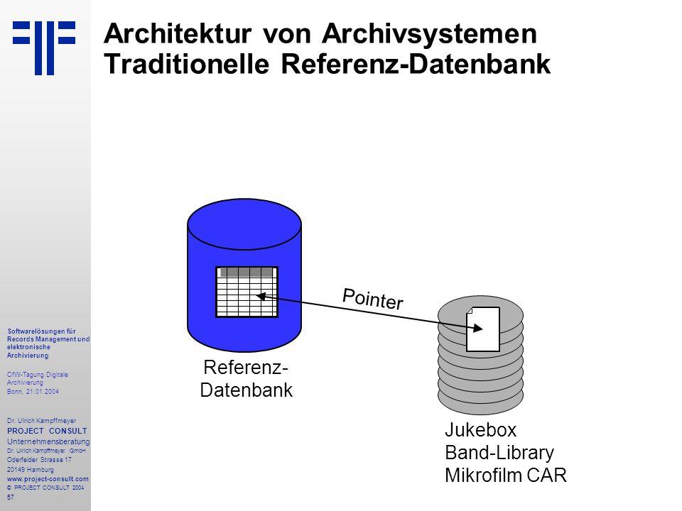 57 Softwarelösungen für Records Management und elektronische Archivierung CfW-Tagung Digitale Archivierung Bonn, 21.01.2004 Dr. Ulrich Kampffmeyer PRO