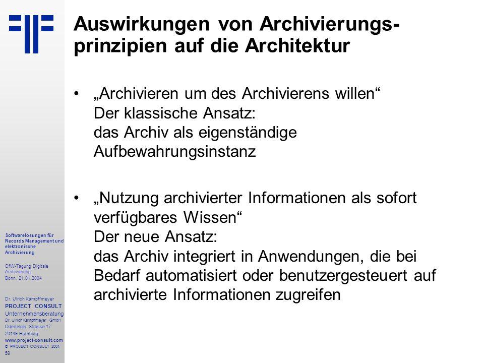 59 Softwarelösungen für Records Management und elektronische Archivierung CfW-Tagung Digitale Archivierung Bonn, 21.01.2004 Dr. Ulrich Kampffmeyer PRO