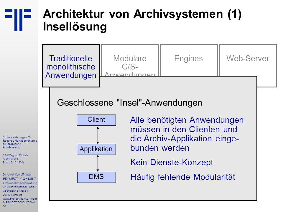 60 Softwarelösungen für Records Management und elektronische Archivierung CfW-Tagung Digitale Archivierung Bonn, 21.01.2004 Dr. Ulrich Kampffmeyer PRO