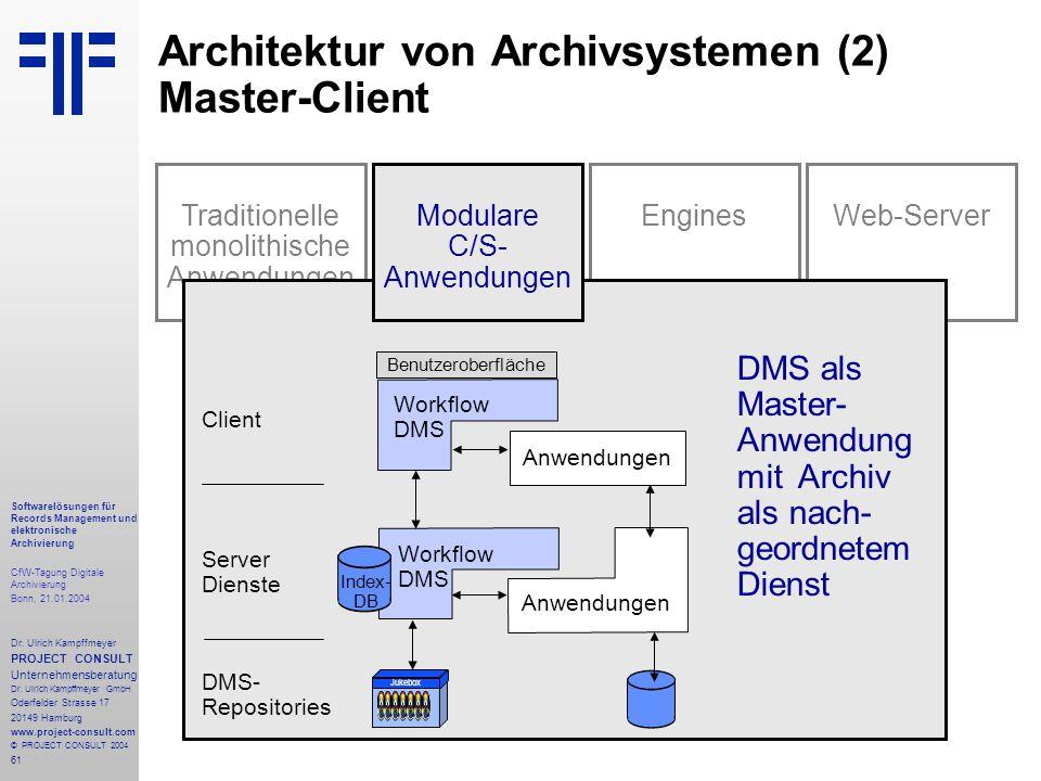 61 Softwarelösungen für Records Management und elektronische Archivierung CfW-Tagung Digitale Archivierung Bonn, 21.01.2004 Dr. Ulrich Kampffmeyer PRO