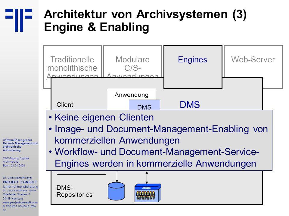 62 Softwarelösungen für Records Management und elektronische Archivierung CfW-Tagung Digitale Archivierung Bonn, 21.01.2004 Dr. Ulrich Kampffmeyer PRO