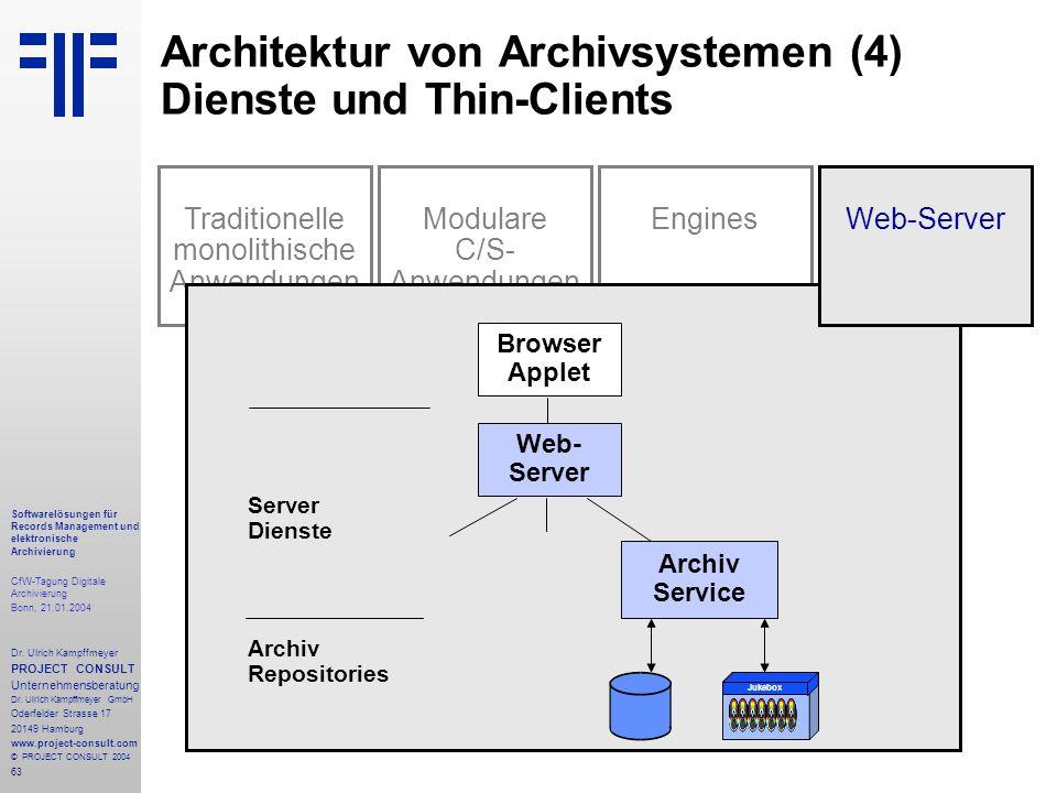 63 Softwarelösungen für Records Management und elektronische Archivierung CfW-Tagung Digitale Archivierung Bonn, 21.01.2004 Dr. Ulrich Kampffmeyer PRO