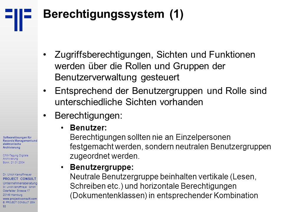 93 Softwarelösungen für Records Management und elektronische Archivierung CfW-Tagung Digitale Archivierung Bonn, 21.01.2004 Dr. Ulrich Kampffmeyer PRO