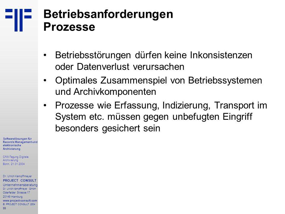 99 Softwarelösungen für Records Management und elektronische Archivierung CfW-Tagung Digitale Archivierung Bonn, 21.01.2004 Dr. Ulrich Kampffmeyer PRO