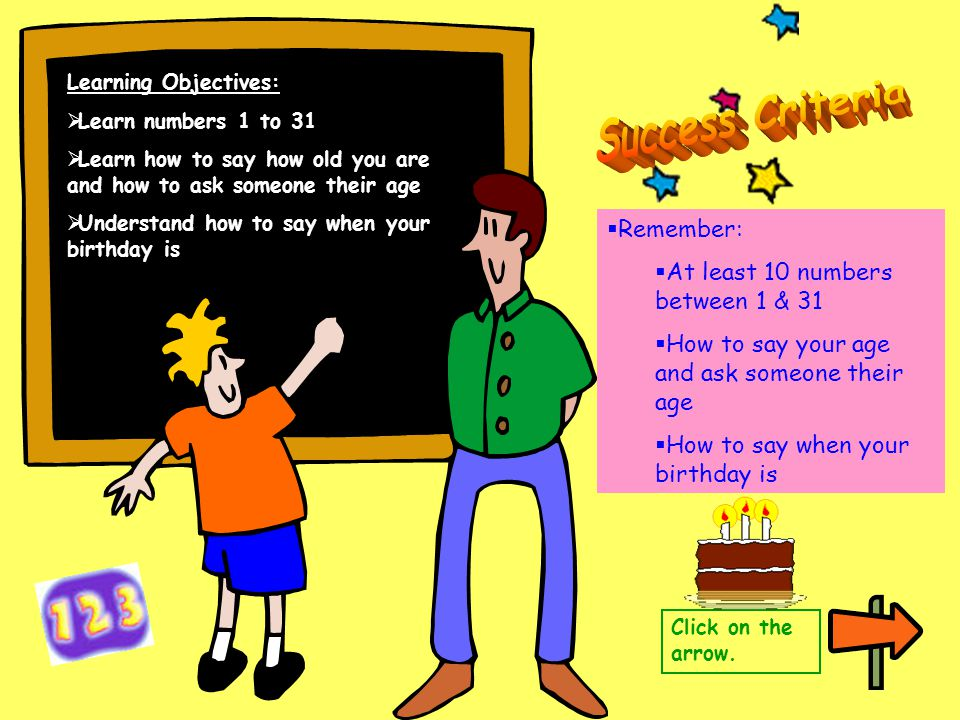Learning Objectives:  Learn numbers 1 to 31  Learn how to say how old you are and how to ask someone their age  Understand how to say when your bir