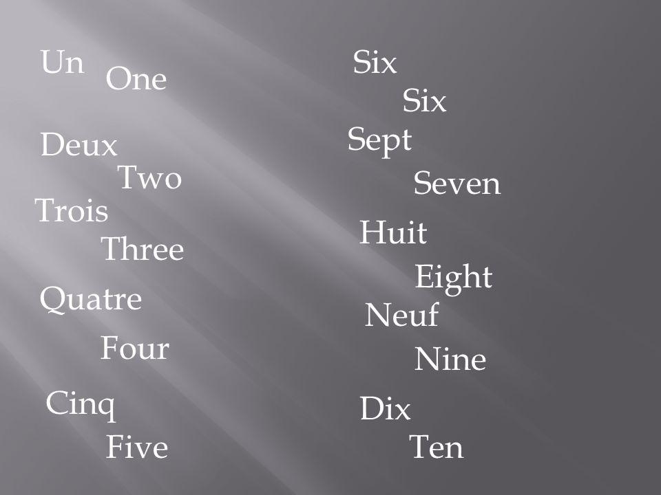 Un One Seven Two Trois Three Quatre Four Cinq Five Six Sept Deux Huit Eight Neuf Nine Dix Ten