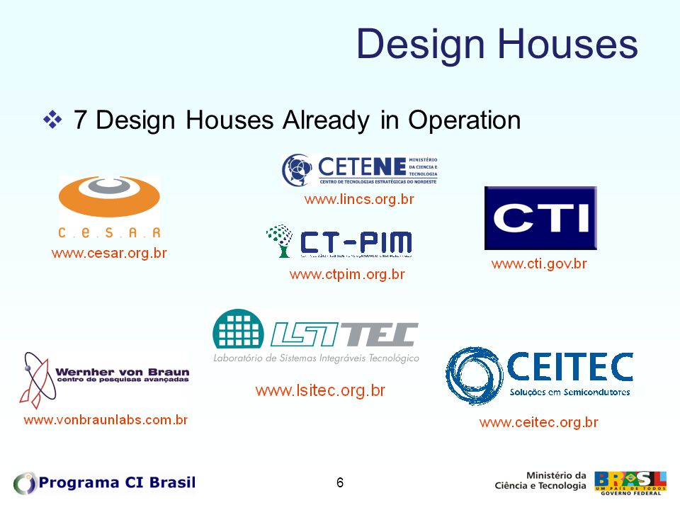 7 Design Houses  Infrastructure  Workstations  Cadence s Software Tools  Cadence s Tool Training  Fellowships in the first years  Current 97 fellowships for 133 designers  IC Design  IP Library  Comercial Designs: 19 finished & 18 in progress  Next steps: growth of existing DH´s and increase number to 15 DH´s until 2010