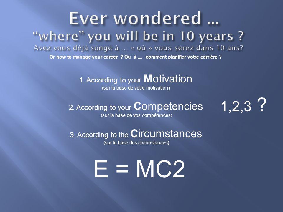 Or how to manage your career . Ou à.... comment planifier votre carrière .