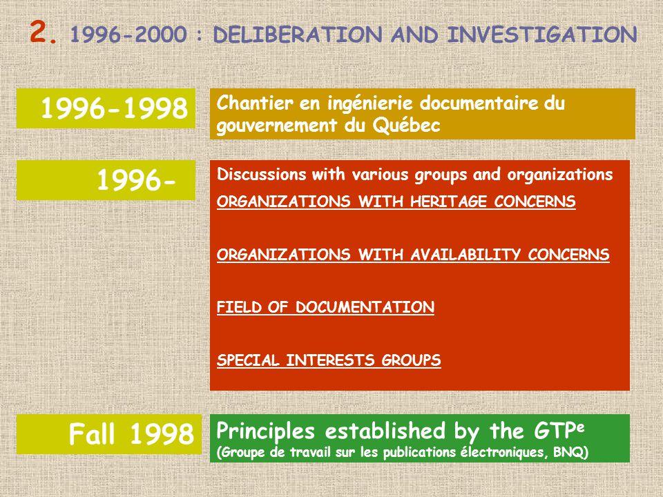 1996-1998 1996- Fall 1998 Principles established by the GTP e (Groupe de travail sur les publications électroniques, BNQ) Discussions with various groups and organizations ORGANIZATIONS WITH HERITAGE CONCERNS ORGANIZATIONS WITH AVAILABILITY CONCERNS FIELD OF DOCUMENTATION SPECIAL INTERESTS GROUPS Chantier en ingénierie documentaire du gouvernement du Québec 2.
