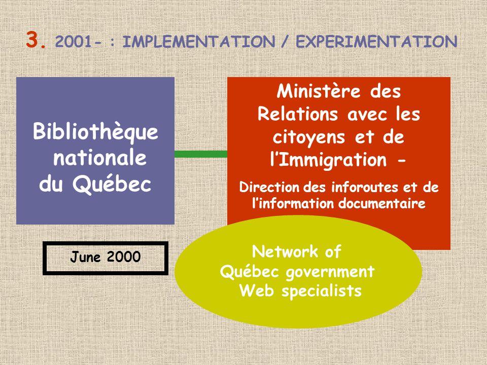 3. 2001- : IMPLEMENTATION / EXPERIMENTATION Bibliothèque nationale du Québec Ministère des Relations avec les citoyens et de l'Immigration - Direction