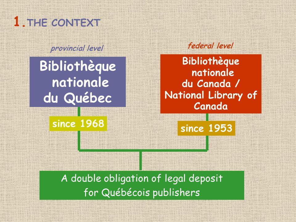 1. THE CONTEXT Bibliothèque nationale du Canada / National Library of Canada Bibliothèque nationale du Québec since 1968 since 1953 A double obligatio