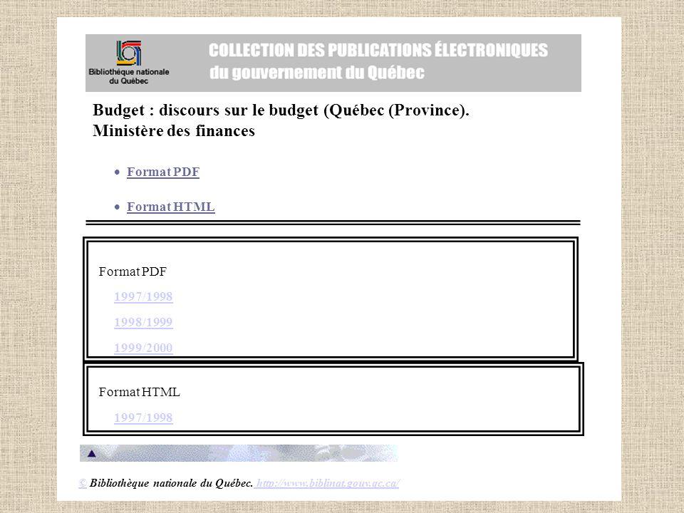 Budget : discours sur le budget (Québec (Province).