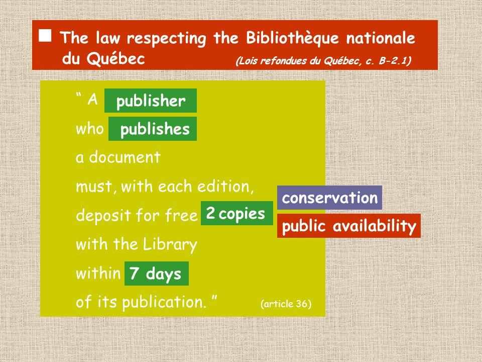 The law respecting the Bibliothèque nationale du Québec (Lois refondues du Québec, c.