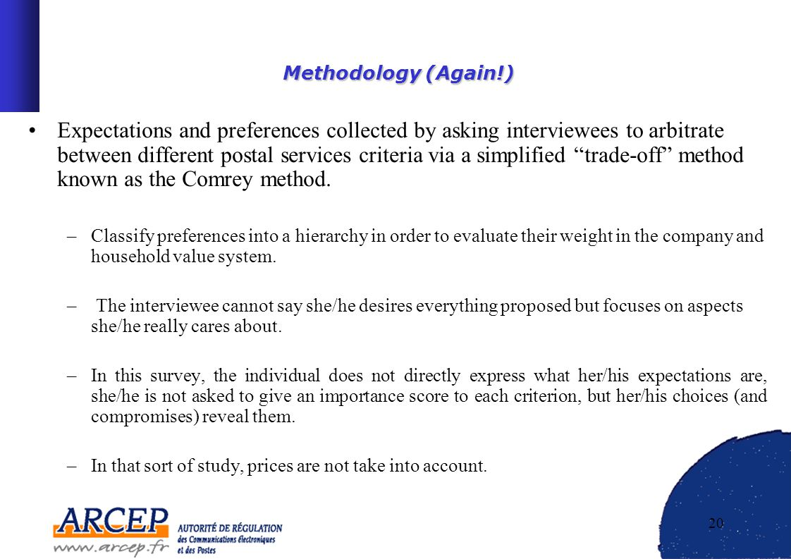 20 Methodology (Again!) Methodology (Again!) Expectations and preferences collected by asking interviewees to arbitrate between different postal services criteria via a simplified trade-off method known as the Comrey method.