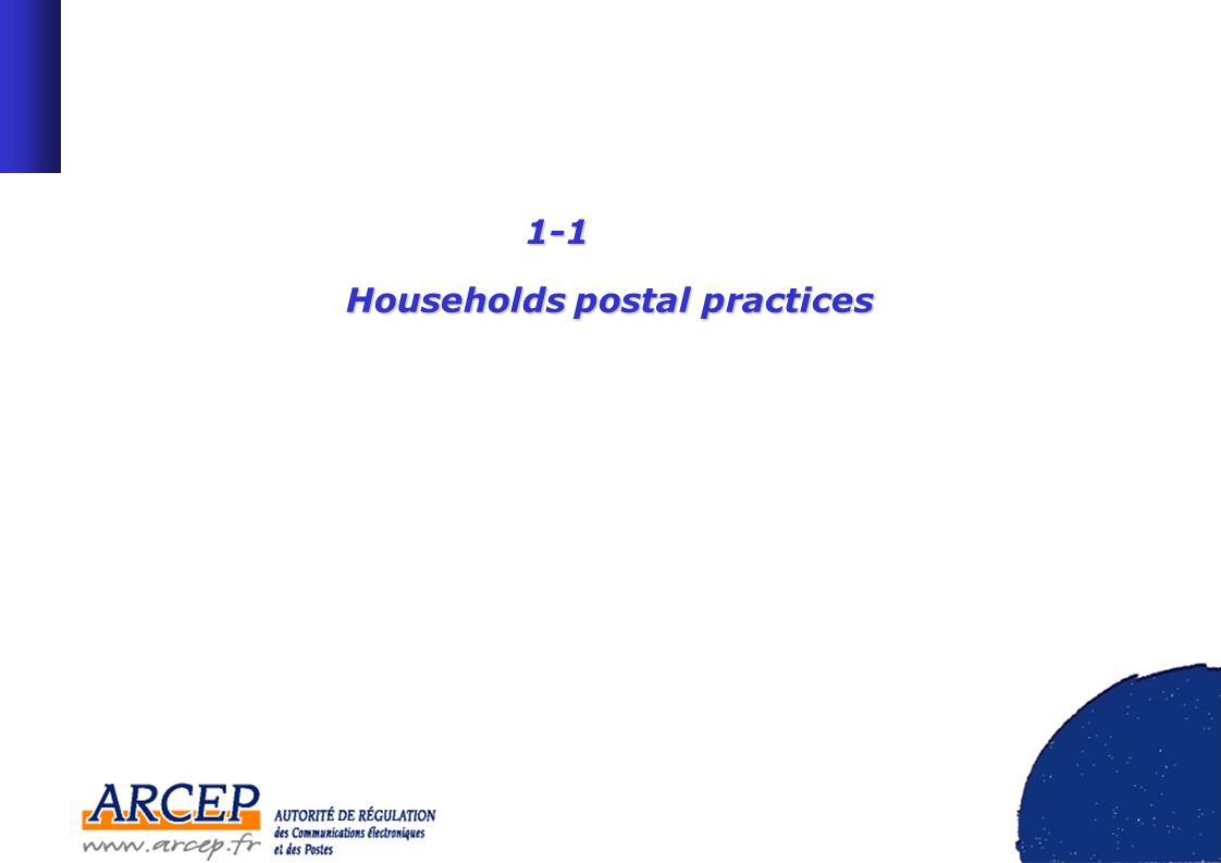 6 Postal practices : letters 57% of households receive at least one letter almost everyday Parisian households (24% receive more than 10 letters per week) high socio-economic group (24%) At the contrary, 59% of over 65 year old households receive less than 5 letters per week.