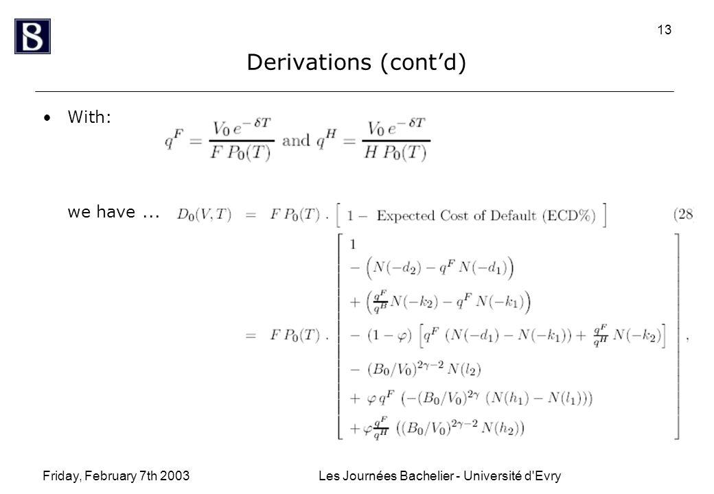 Friday, February 7th 2003Les Journées Bachelier - Université d Evry 13 Derivations (cont'd) With: we have...
