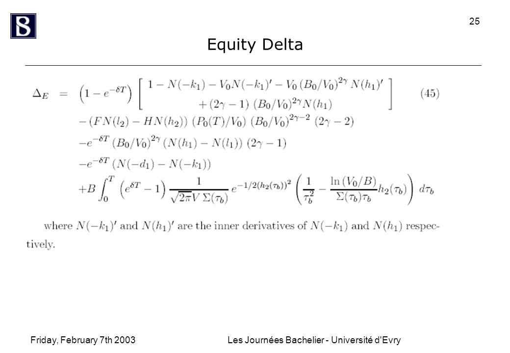 Friday, February 7th 2003Les Journées Bachelier - Université d Evry 25 Equity Delta