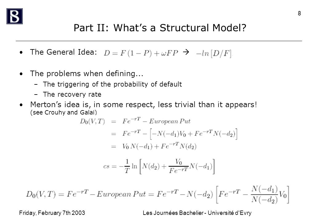 Friday, February 7th 2003Les Journées Bachelier - Université d'Evry 8 Part II: What's a Structural Model? The General Idea:  The problems when defini