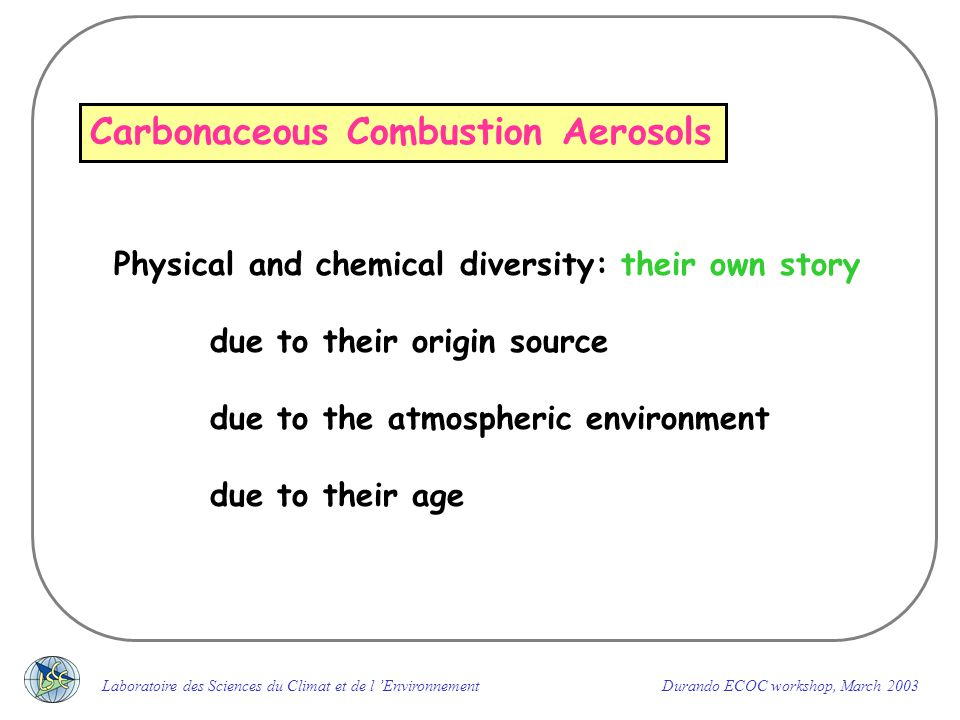 What are the important parameters that need to be defined for a carbonaceous aerosol analysis .