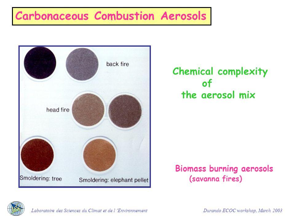 Carbonaceous Combustion Aerosols Chemical complexity of EC (BC) and OC Laboratoire des Sciences du Climat et de l 'Environnement Durando ECOC workshop, March 2003 From D.